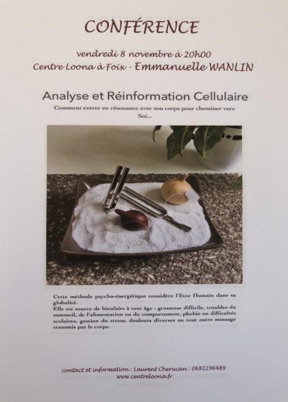 Conférence Analyse et Réinformation cellulaire - Emmanuelle Wanlin - Vendredi 8 novembre - Centre Loona Foix